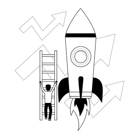 homme d'affaires monte les escaliers flèches fusée croissance business vector illustration