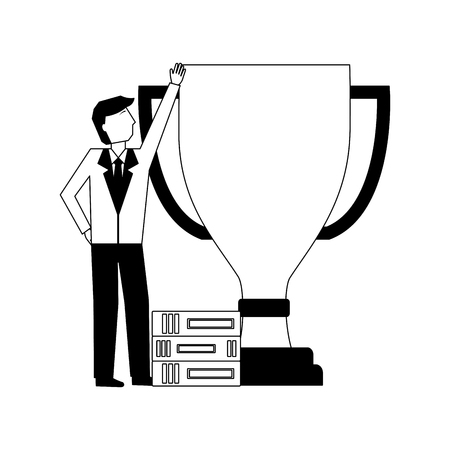 businessman with big award trophy and books success vector illustration Ilustrace