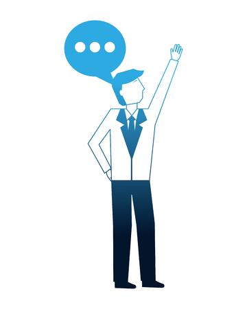 businessman and speech bubble communication vector illustration neon
