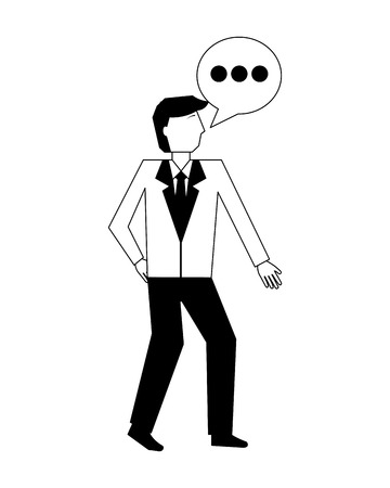 businessman and speech bubble communication vector illustration