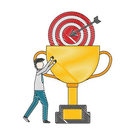 businessman success trophy and target vector illustration Illusztráció
