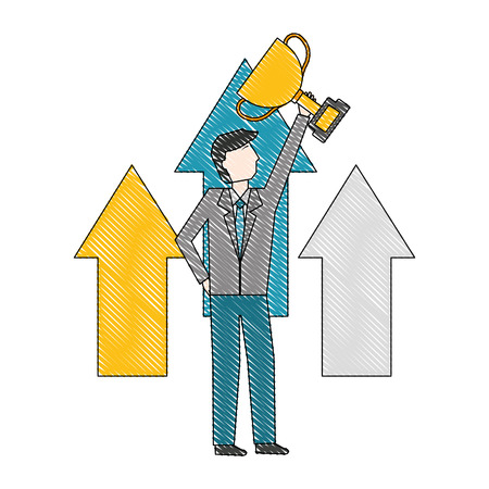 businessman holding trophy arrows financial vector illustration