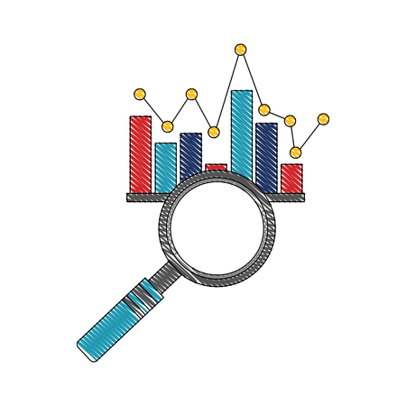 business magnifying glass chart statistic diagram vector illustration
