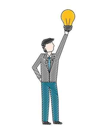 businessman holding business idea creativity bulb vector illustration Ilustração
