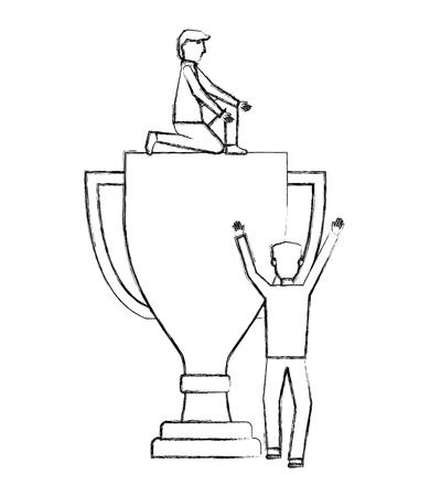 businessmen with big trophy business success vector illustration hand drawing Illustration