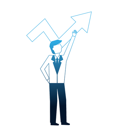 businessman pointing arrow up profit business vector illustration neon