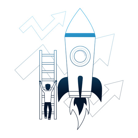 businessman climbs stairs rocket arrows growth business vector illustration neon