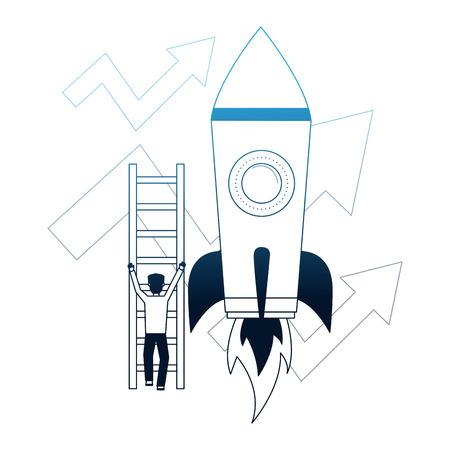El empresario sube escaleras flechas de cohete crecimiento empresarial ilustración vectorial neón