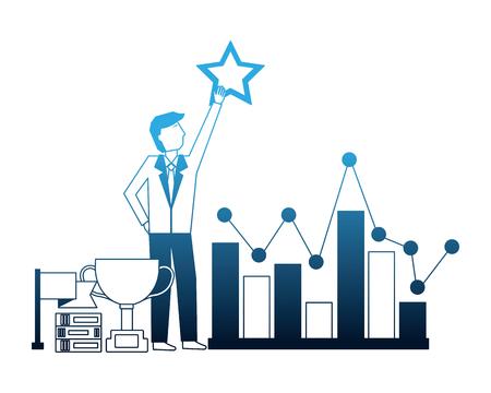 businessman holding star chart trophy flag success vector illustration neon Illustration
