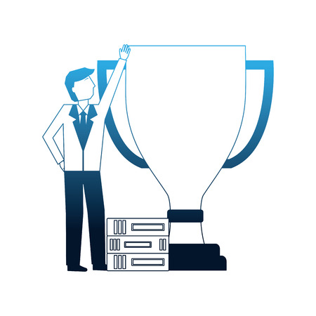 businessman with big award trophy and books success vector illustration neon