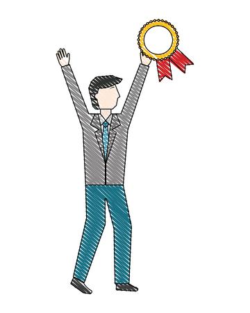 businessman holding medal award rosette success vector illustration  イラスト・ベクター素材