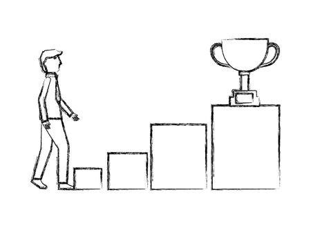 businessman climbs podium steps trophy on top vector illustration hand drawing 일러스트