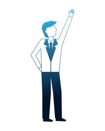 businessman avatar character in suit vector illustration neon