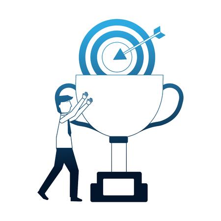 businessman success trophy and target vector illustration neon Illusztráció