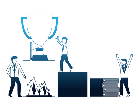 businesspeople podium trophy flag chart books success vector illustration neon Illustration