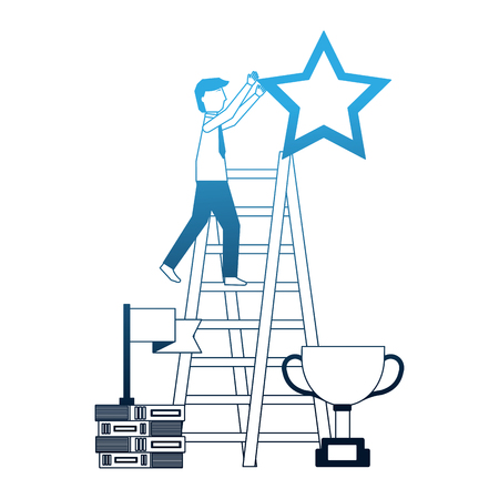 businesssman on stairs with star trophy and flag vector illustration neon Illustration
