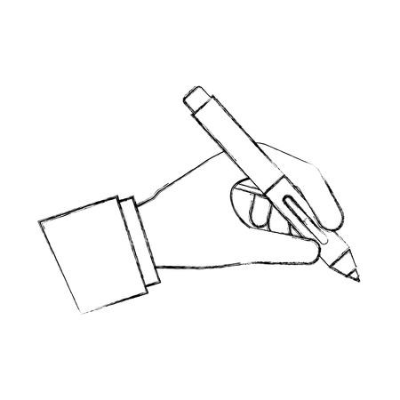 hand holding fountain pen artistic creativity vector illustration hand drawing Çizim