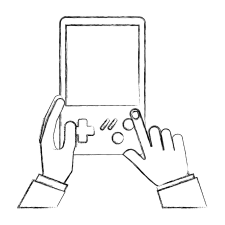 hands with console video game retro portable vector illustration hand drawing