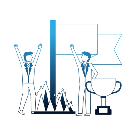 businessmen with trophy flag and financial chart business vector illustration neon Stock Illustratie