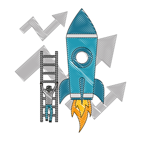 businessman climbs stairs rocket arrows growth business vector illustration Иллюстрация