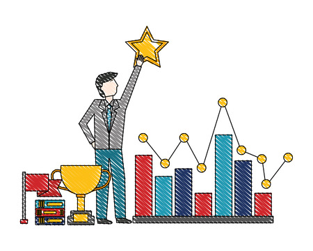 businessman holding star chart trophy flag success vector illustration