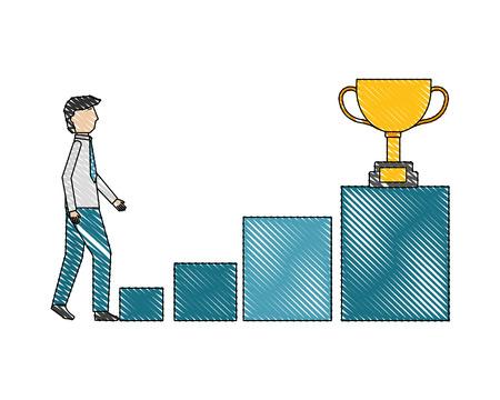 businessman climbs podium steps trophy on top vector illustration