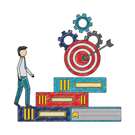 businessman climbs books step target on top gears success vector illustration