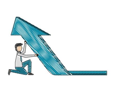 businessman holding arrow growth business vector illustration Illusztráció