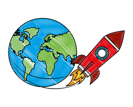 rocket flying around world travel vector illustration