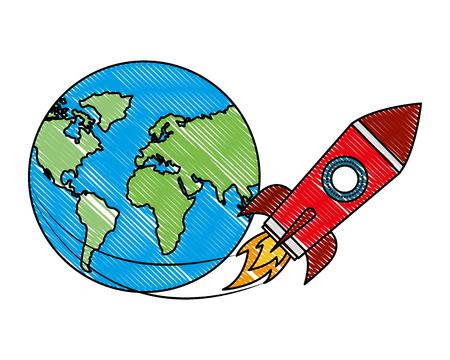 rocket flying around world travel vector illustration
