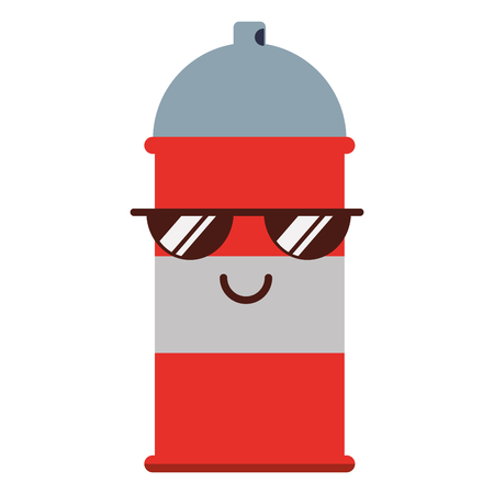 kawaii spray canister with sunglasses character vector illustration Illustration