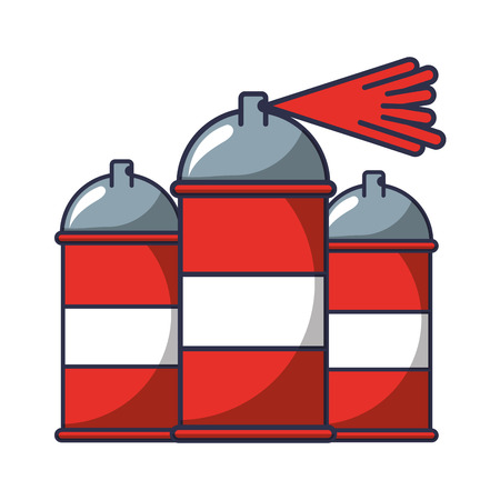 three spray canister splash color artistic vector illustration