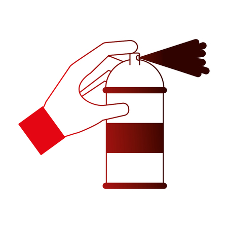 spray canister in the hand creative vector illustration