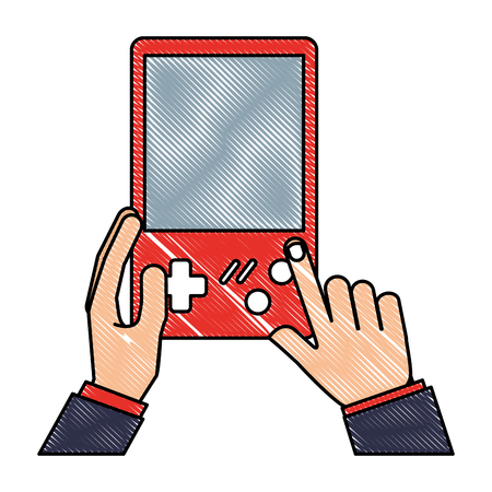 hands with console video game retro portable vector illustration 向量圖像