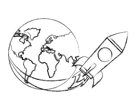rocket flying around world travel vector illustration hand drawing Stock Illustratie