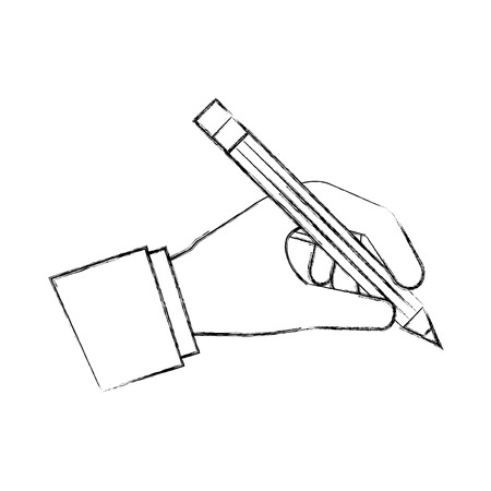 hand holding wooden pencil artistic creativity vector illustration hand drawing