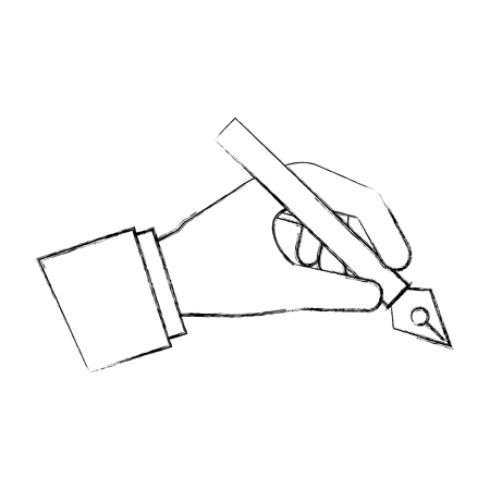 hand holding pen steel basic tip artistic creativity vector illustration hand drawing