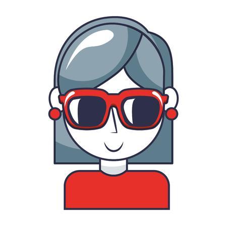 young girl with sunglasses portrait character vector illustration