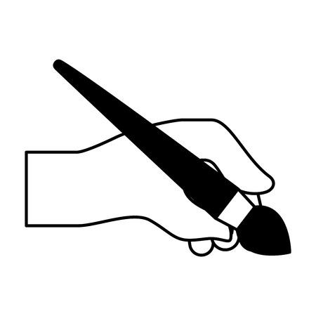 hand holding paint brush artistic creativity vector illustration