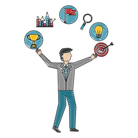 uomo d'affari con illustrazione vettoriale di successo del diagramma della lampadina del trofeo di destinazione