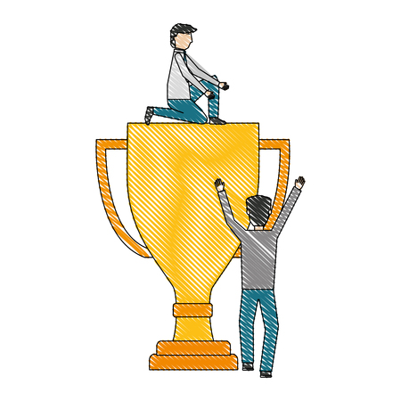 businessmen with big trophy business success vector illustration Ilustração