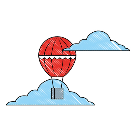 hot air balloon basket flying in the sky vector illustration
