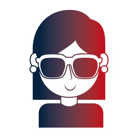 young girl with sunglasses portrait character vector illustration neon image 向量圖像