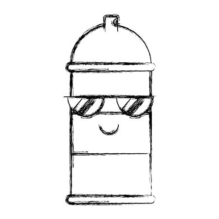 kawaii spray canister with sunglasses character vector illustration hand drawing Stock Illustratie