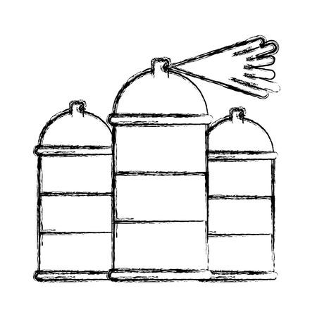 three spray canister splash color artistic vector illustration hand drawing