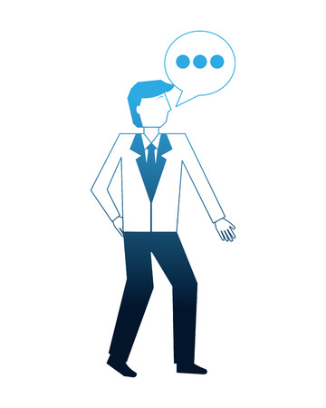 businessman and speech bubble communication vector illustration   neon image 向量圖像
