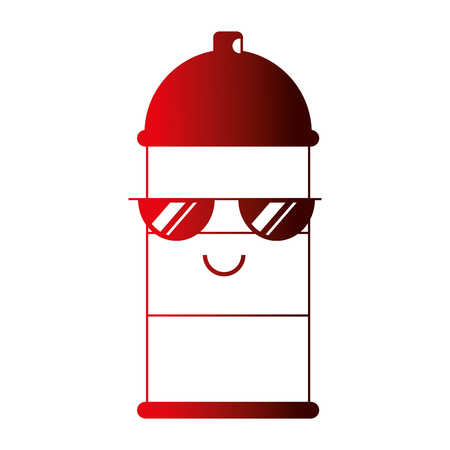 kawaii spray canister with sunglasses character vector illustration Stock Illustratie