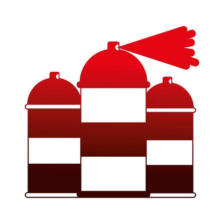 three spray canister splash color artistic vector illustration