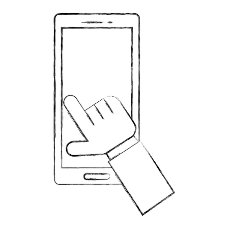 hand touching display smartphone device vector illustration hand drawing