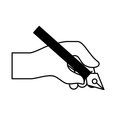 hand holding pen steel basic tip artistic creativity vector illustration